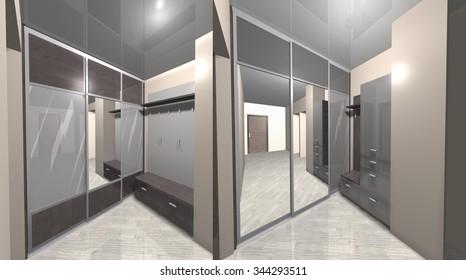 3D rendering interior design hallway corridor, wardrobe with sliding doors