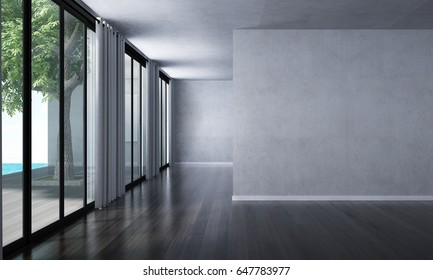 3D rendering interior design of minimal living room and concrete wall
