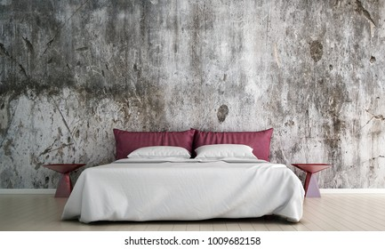 3D rendering interior design of pink bed and bedroom and concrete texture wall pattern background