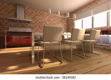 3d rendering interior of a modern dining room