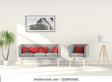 3D rendering of interior modern living room