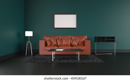 3D rendering of interior modern room includes sofa, floor lamp, shelves, carpet on painted black wooden floorboards and empty picture frame hanging on the green wall.