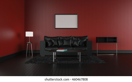 3D rendering of interior modern room includes sofa, floor lamp, shelves, carpet on painted wooden floorboards and empty picture frame hanging on the red wall.