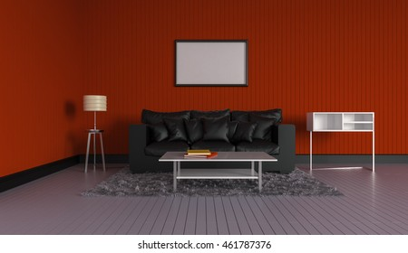 3D rendering of interior modern room includes sofa, floor lamp, carpet on painted wooden floorboards and empty picture frame hanging on the red wall.