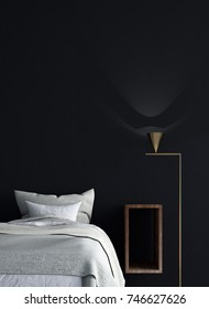 The 3d rendering interiors design concept idea of modern bedroom and black wall texture background and side table