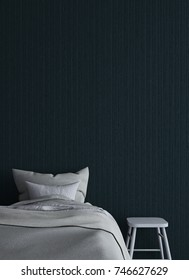 The 3d rendering interiors design concept idea of minimal bedroom and black wall texture background