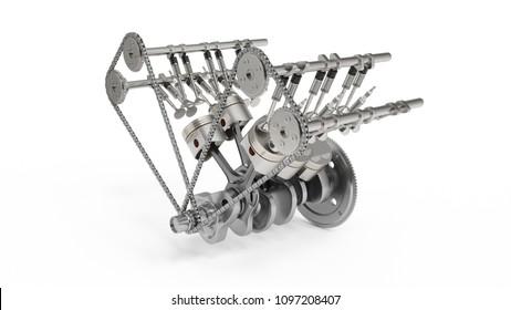 D Rendering Internal Combustion Engine Nw on V4 Engine Blueprint
