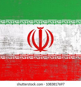 3d rendering of Iran flag in a scratched surface
