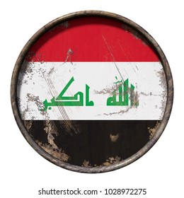3d rendering of an Iraq flag over a rusty metallic plate. Isolated on white background.