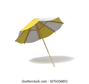 3d rendering of an isolated beach umbrella with white and yellow stripes on white background. Sunbathing. Summer vacation. Leisure at sea.