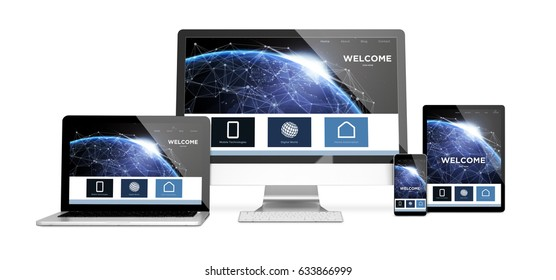 3d rendering of isolated devices showing responsive earth landing page on screen. All screen graphics are made up. some elements furnished by NASA.