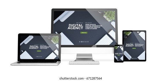 3d rendering of isolated devices showing responsive digital agency website on screen. All screen graphics are made up.