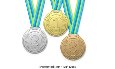 3D rendering of Isolated medals on blue and green ribbons.