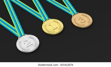 3D rendering of Isolated medals for three places on black background