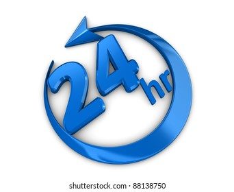 3d rendering, isolated on white background, 24 hour service sign.