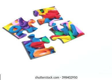 3d rendering of an isolated puzzle pieces with hairband print on white background.