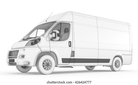 3D rendering of Isolated sketch white van with white background