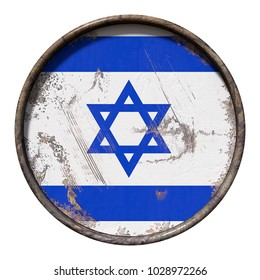 3d rendering of an Israel flag over a rusty metallic plate. Isolated on white background.