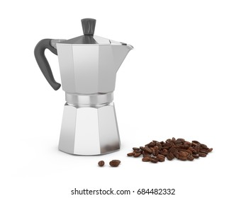 3D Rendering Italian metallic coffee maker with coffee beans isolated on white