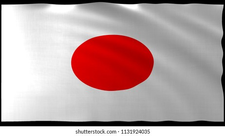 The 3d rendering of Japan flag design with nice wave