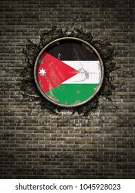 3d rendering of a Jordan flag over a rusty metallic plate embedded on an old brick wall