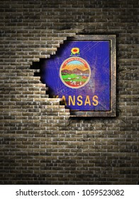 3d rendering of a Kansas State flag over a rusty metallic plate embedded on an old brick wall