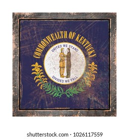 3d rendering of a Kentucky State flag over a rusty metallic plate wit a rusty frame. Isolated on white background.