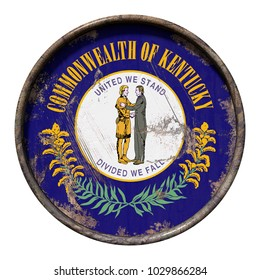 3d rendering of a Kentucky State flag over a rusty metallic plate. Isolated on white background.