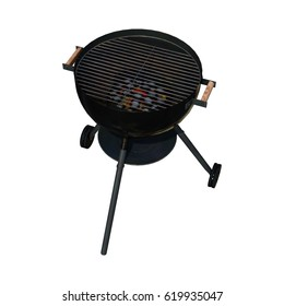 3D rendering of a kettle barbecue grill isolated on white background