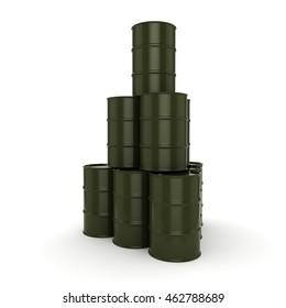 3D rendering khaki barrels not contain any inscriptions