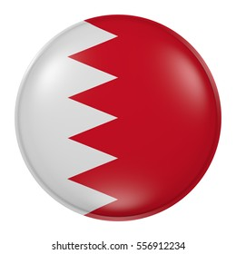3d rendering of Kingdom of Bahrain button with flag on white background