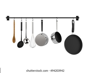 3d rendering kitchen rack hanging with kitchen utensils isolated on white