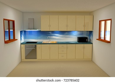 3d rendering kitchen room with modern appliance