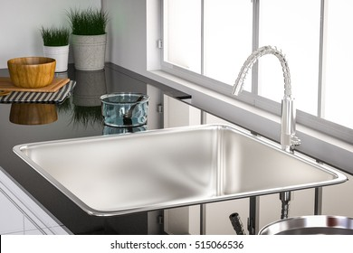 3d rendering kitchen sink and faucet