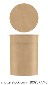 3D rendering Kraft paper tube packaging with cap mock up on white background