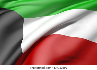 3d rendering of a Kuwait flag