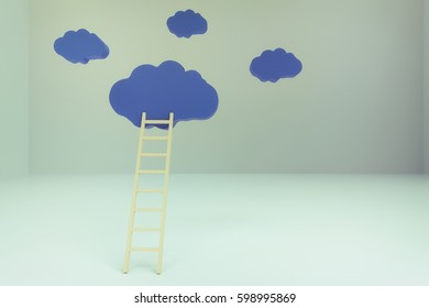 3d rendering of ladder with cloud in empty room