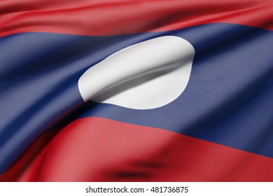 3d rendering of Lao People's Democratic Republic flag waving