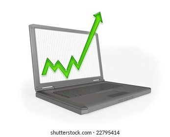 3D rendering of a laptop computer with graph protruding from the screen to represent business growth, profit or other statistics.