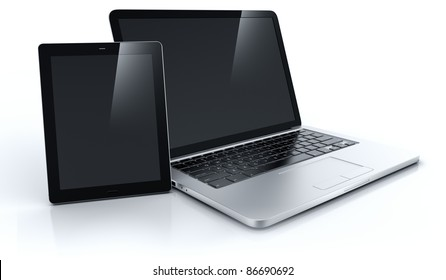 3d rendering of a laptop and a tablet