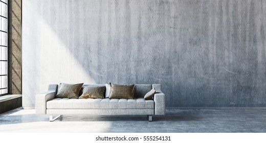 3D rendering of large sofa on concrete floor with wide blank wall beside tall window. Sunlight streaming in from side.