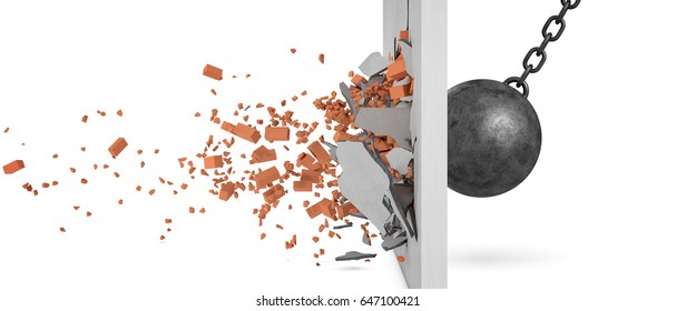 3d rendering of a large swinging wrecking ball crashing at a brick wall with pieces from the wall flying away in side view. Demolition works. Destroy all obstacles. Plummet way forward.