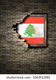 3d rendering of a Lebanon flag over a rusty metallic plate embedded on an old brick wall
