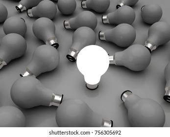 3d rendering led white light bulb