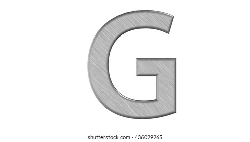 3d rendering of the letter G in brushed metal on a white isolated background