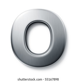 3d rendering of the letter O in brushed metal on a white isolated background.