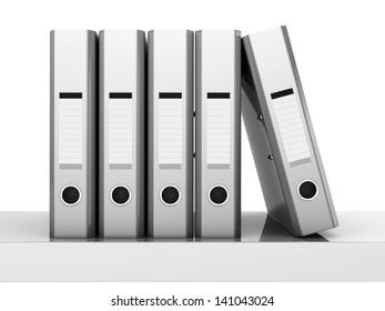 3d rendering of lever arch folder on shelf