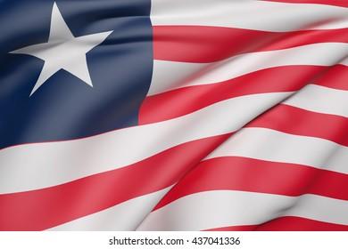 3d rendering of Liberia flag waving