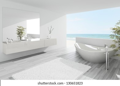 A 3D rendering of light bathroom interior