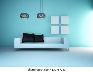 A 3D rendering of light blue living room